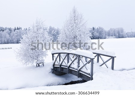 Overcast day with newly-fallen snow just after the winter solstice, midwinter. A bridge and a brook, creek surrounded of deep snow. - stock photo