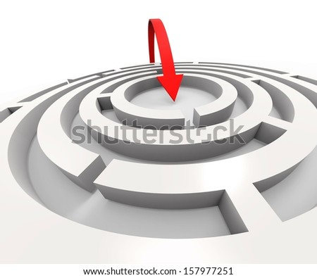 Overcome Maze Shows Solving Or Achieving Puzzle Success - stock photo