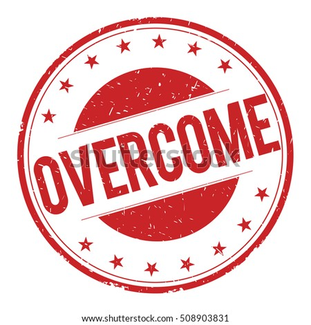 OVERCOME stamp sign text word logo red.