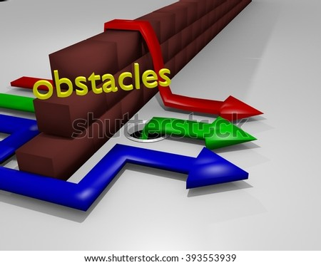 overcoming obstacles concept image made with 3D render - stock photo