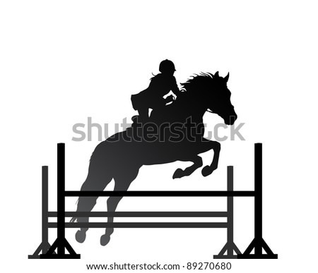 Overcoming of obstacles in horse. Raster version of the loaded vector - stock photo