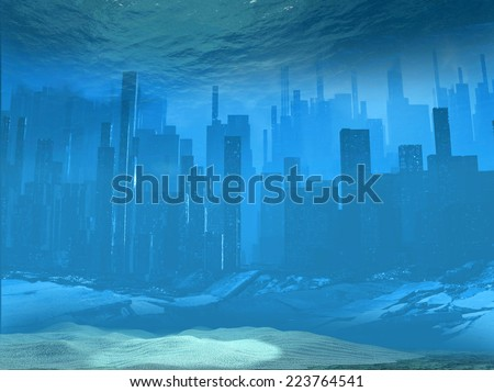 Overflow city  - stock photo