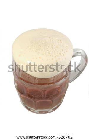 Overflowing pint of bitter