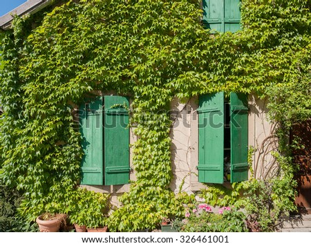 overgrown house facade in Riquewihr, a town in Alsace, France - stock photo