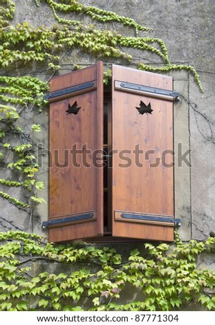 overgrown house facade including a mostly closed wooden window shutter. Outdoor shot in Alsace (France) - stock photo