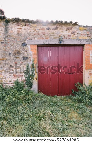 Overgrown old stone house with red-painted wooden door
