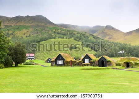 Overgrown Typical Rural Icelandic houses at overcast foggy day - stock photo