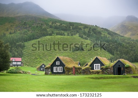 Overgrown Typical Rural Icelandic Houses at Overcast Misty Day - stock photo