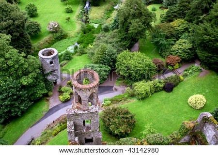 Overhead aerial view of Blarney castle's towers and park near Cork, Ireland - stock photo