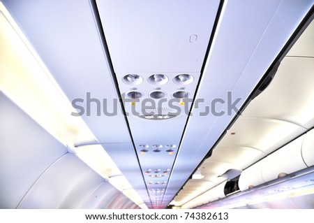 Overhead console of aircraft - stock photo