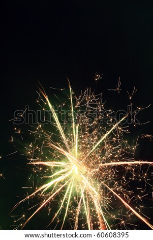 Overhead firework display from the Fourth of July - stock photo