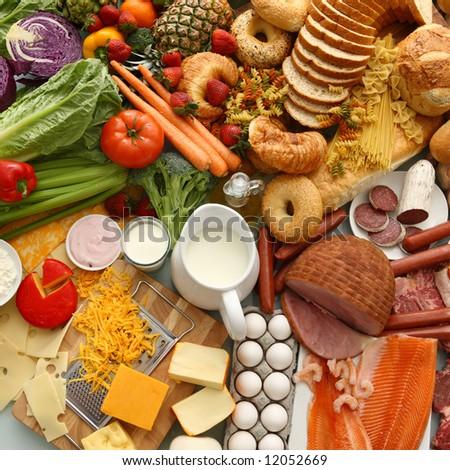 Overhead food background - stock photo