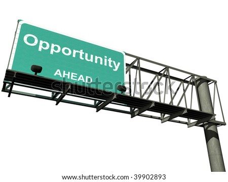 """Overhead highway sign with the word """"opportunity"""" isolated on a white background with a clipping path included. - stock photo"""