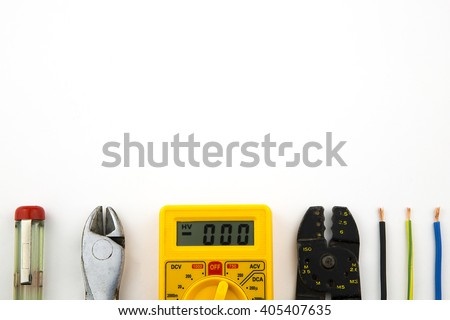 overhead of a electrician equipment / set electrician tools - stock photo