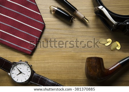 overhead of an elegant set for business men /it is a matter of style - stock photo