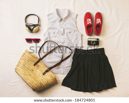 Overhead of essentials vintage woman. Outfit of casual woman.  - stock photo