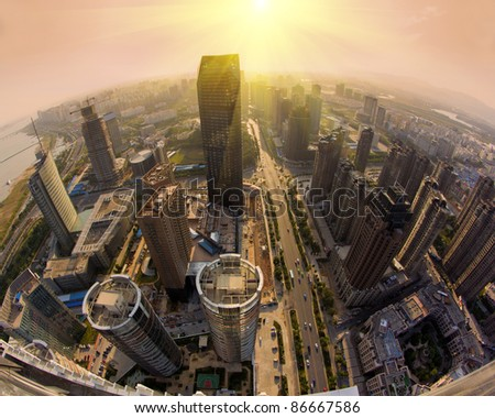 Overhead over the city, the bustling streets - stock photo