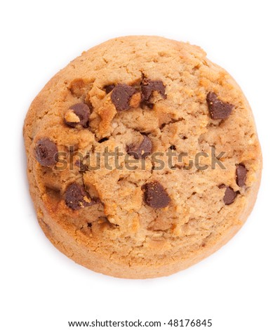 Overhead shot of a cookie, against a white background - stock photo
