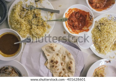overhead shot of a messy pakistani food