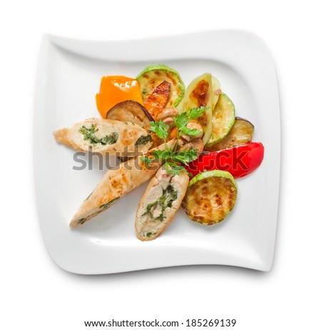 Stuffed turkey breast slices