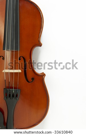 overhead view of a musical instrument on white background