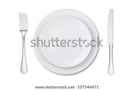 overhead view of an empty place setting isolated on white - stock photo