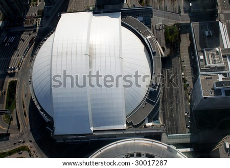 Overhead view of baseball stadium in downtown Toronto, Ontario, Canada