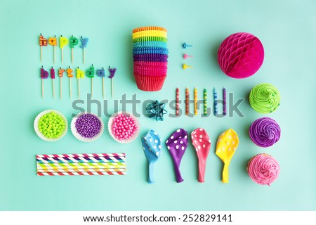 Overhead view of birthday party object collection - stock photo