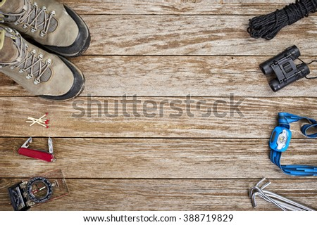 overhead view of camping gear - stock photo