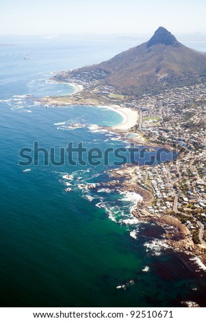 overhead view of coast of Cape Town, South Africa - stock photo