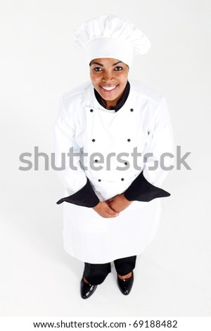 overhead view of female african american chef  looking up - stock photo