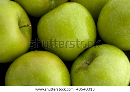 Overhead view of Green Granny Smith Apples - stock photo