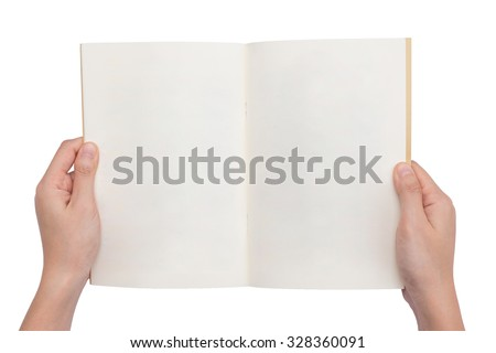 overhead view of hands holding a blank book ready with copy space ready for text, isolated on white background, This picture have clipping path for easy to use. - stock photo