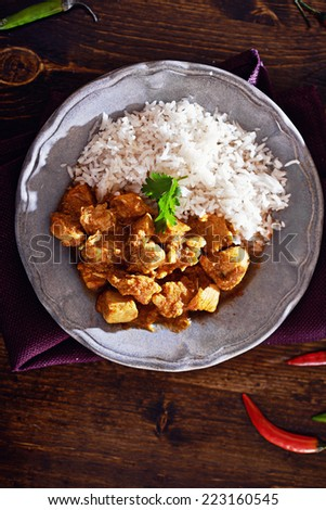 overhead view of indian chicken curry on plate with copyspace - stock photo
