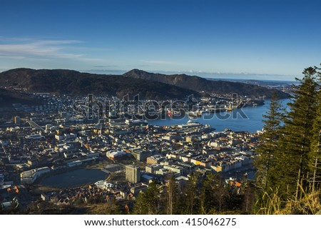 Overhead view of northern european city of Bergen