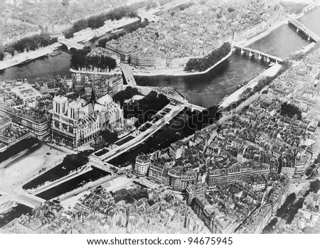 Overhead view of Paris France - stock photo