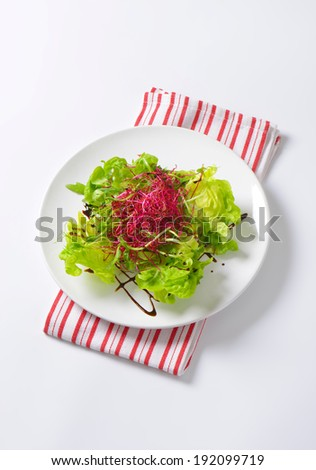 overhead view of plate with mixed salad, on the fabric linen - stock photo