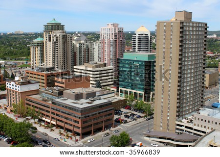 Overhead view of some high rise office and apartment buildings in Calgary, Alberta, Canada - stock photo