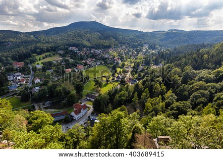 Overhead view of the small spa resort town of Kurort Oybin in eastern Germany. - stock photo