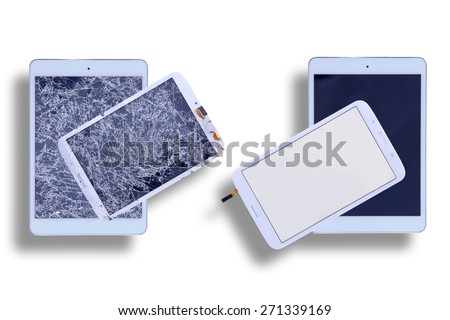 Overhead view of two tablets with shattered glass screens alongside two with repaired tablet screens in a comparative image on a white background - stock photo