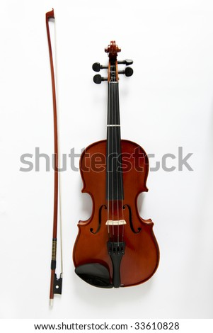 overhead view of viola and bow on white background