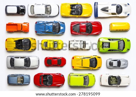 Overhead view on colorful car toys - stock photo