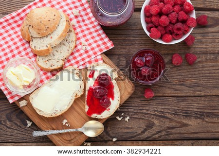 overhead view on healthy breakfast with strawberry jam - stock photo