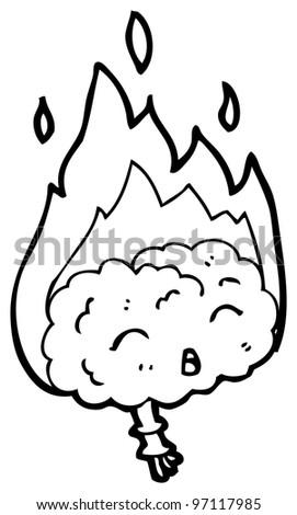 overheated brain cartoon - stock photo