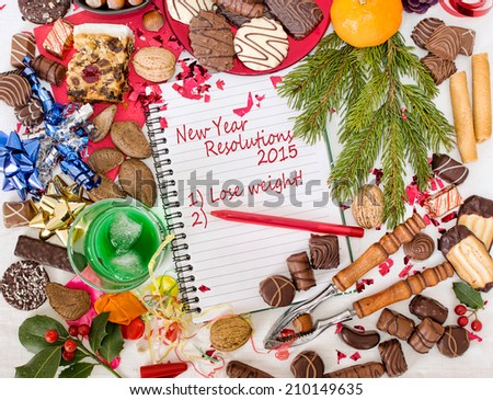 Overindulgence at Christmas, then New Year resolution to diet, lose weight. 2015 - stock photo
