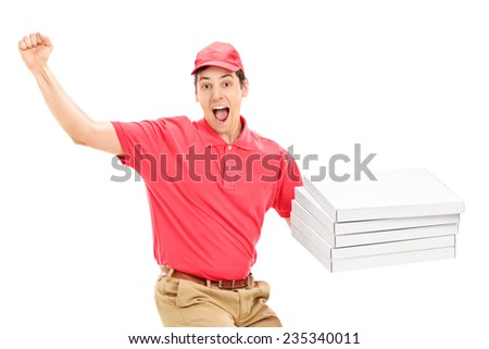 Overjoyed pizza delivery guy isolated on white background - stock photo
