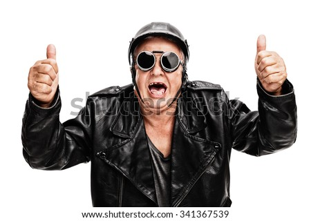 Overjoyed senior biker in black leather jacket giving two thumbs up isolated on white background - stock photo