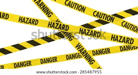 Overlapping Caution, Warning, Danger and Hazard Tape Background - stock photo