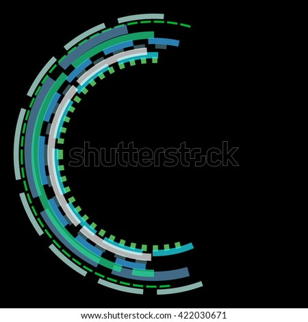 Overlapping colorful broken circles on black ad ready for text - stock photo