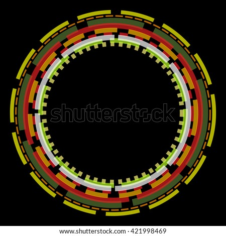Overlapping colorful circles on black ad ready for text - stock photo